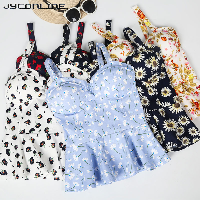 Jyconline Floral Bustier Crop Top Summer Women Tank Top Short Vest Sexy Camis Women Tops Cropped Feminino Ruffles Bralette Bra #2