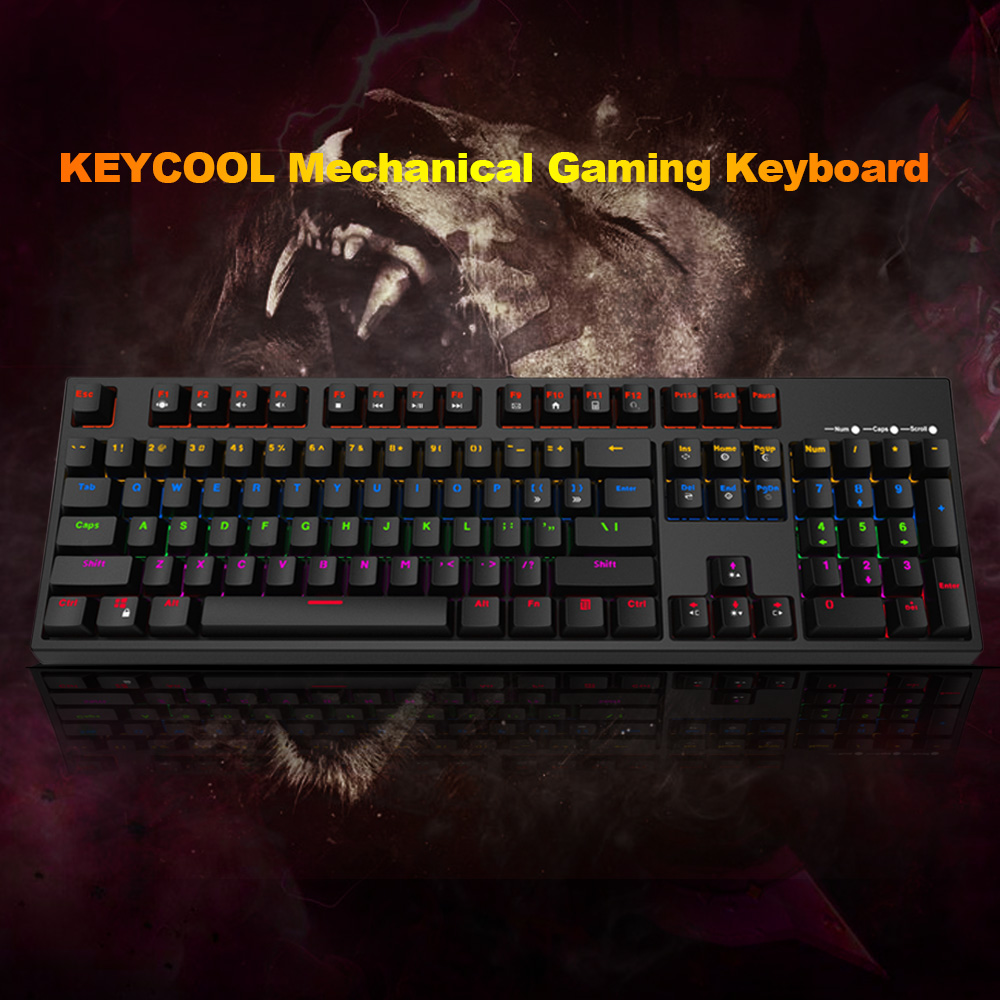 Keycool 2S Mechanical Keyboard Gaming Keyboard Blue Switches Adjustable LED Backlit 104 Keys Anti-Ghosting USB Wired for Desktop rainbow gaming backlight keyboard 87 keys colorful mechanical keyboard with blue black switches desktop for pc laptop
