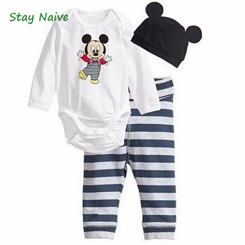 Baby Rompers Long Sleeve Cotton Romper Baby Infant Cartoon Animal Newborn Baby Clothes Romper+hat+pants 3pcs Clothing Set