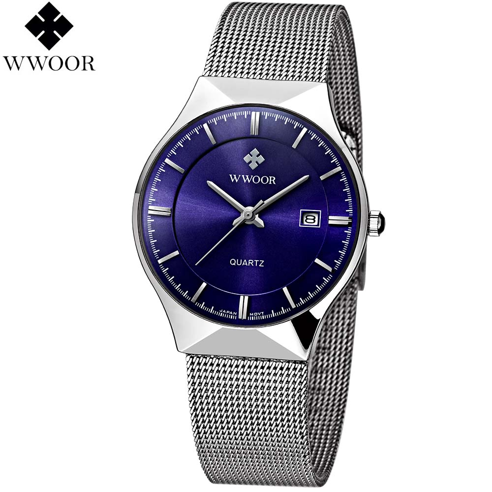 цена Fashion watch brand men's watches dress quartz watch men steel mesh strap quartz-watch Ultra-thin ultra clock relogio masculino