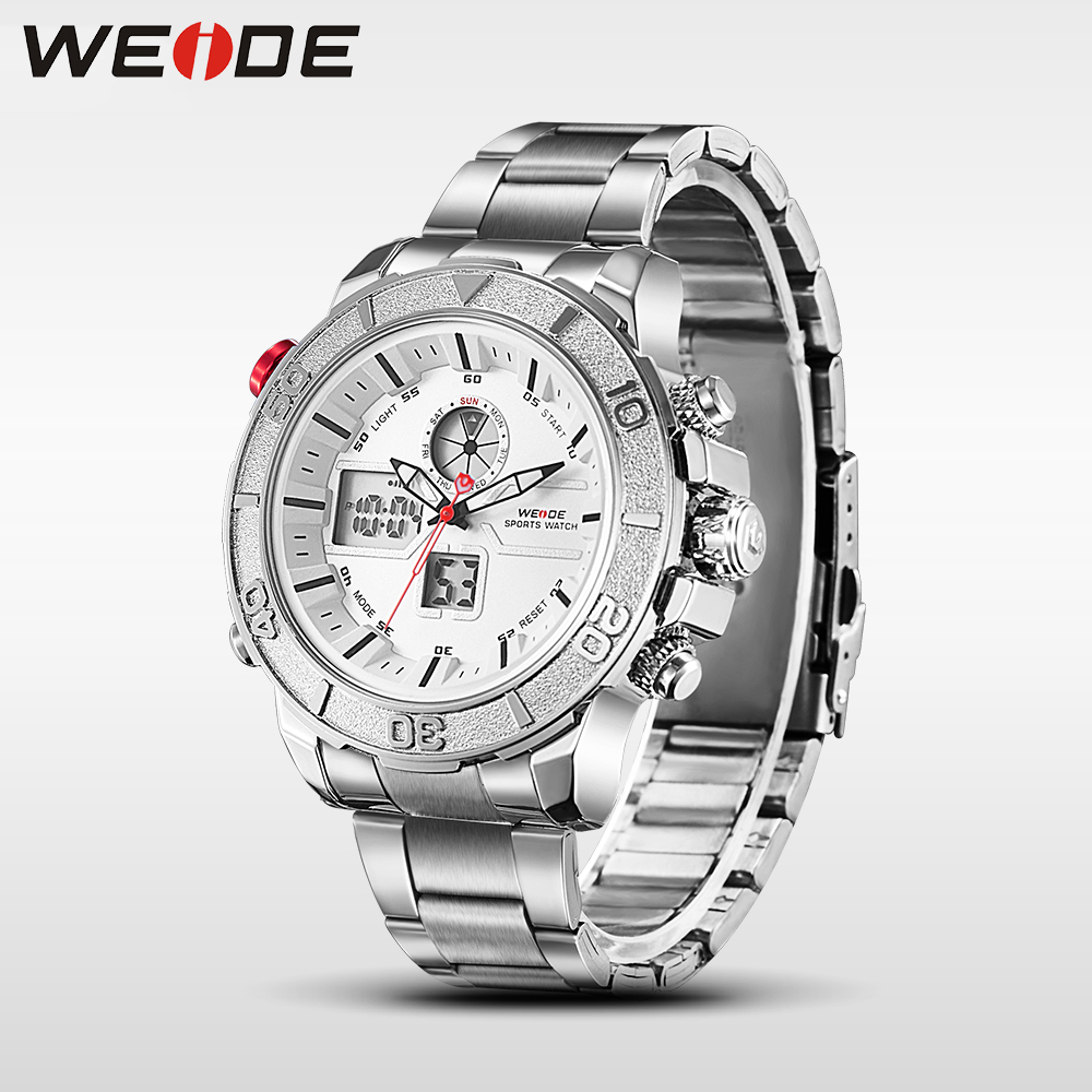 Weide watch luxury sport watch stainless steel silver date digital led quartz sports wrist watch casual genuine fashion & casual free shipping 1 stainless steel normally open valve water acid solenoid valves oil acid viton dc12v dc24v ac110v or ac220v