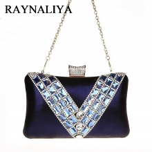 Navy Blue Ladies Wedding Evening Bag Clutch Handbag Bride Party Purse Mini Diamonds Casual SFX-A0137