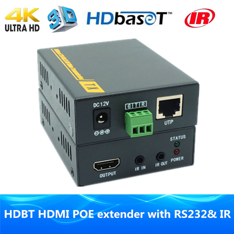 Super Quality 4K x 2K HDMI HDBaseT POE Extender 100m Over RJ45 CAT6 Cable 3D HDMI Extender Transmitter Receiver With IR & RS232 80 channels hdmi to dvb t modulator hdmi extender over coaxial