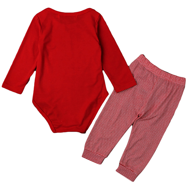 """""""My First Christmas!"""" 2PC/Set - Long Sleeve Cotton Onsie + Deer Pants X-Mas Outfit 2"""