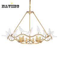 American new LED chandelier creative clear glass bird copper model living room dining room bedroom