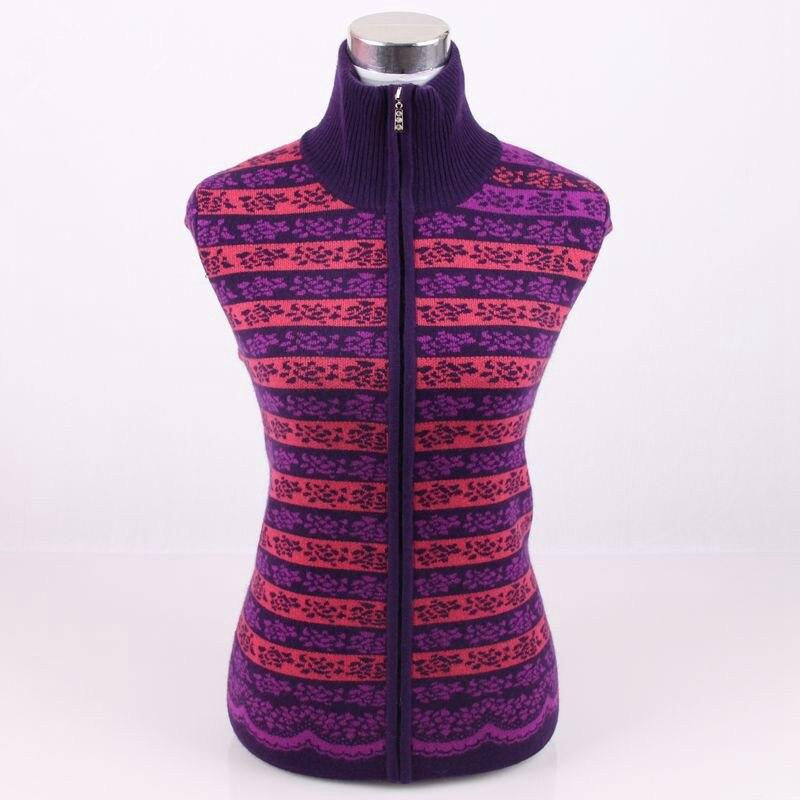 Imprimé Couleur Cardigan 5xl 100 Épais 2 Cachemire Manteau Mode En S Coloré De Zipper Tricot Haut Chandail Rayé Femmes Demi Col 4Fq5URF