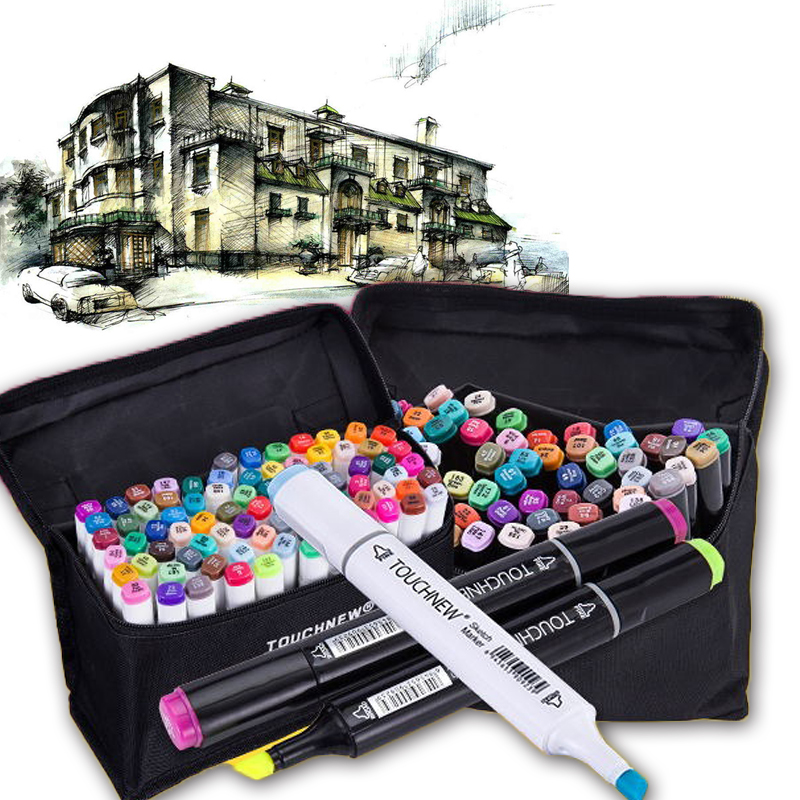 2017 Touchnew Dual Head Finecolour markers Water Color Brush Pen Art Supplies Alcohol Based Markers 36/48 Animation Manga Design