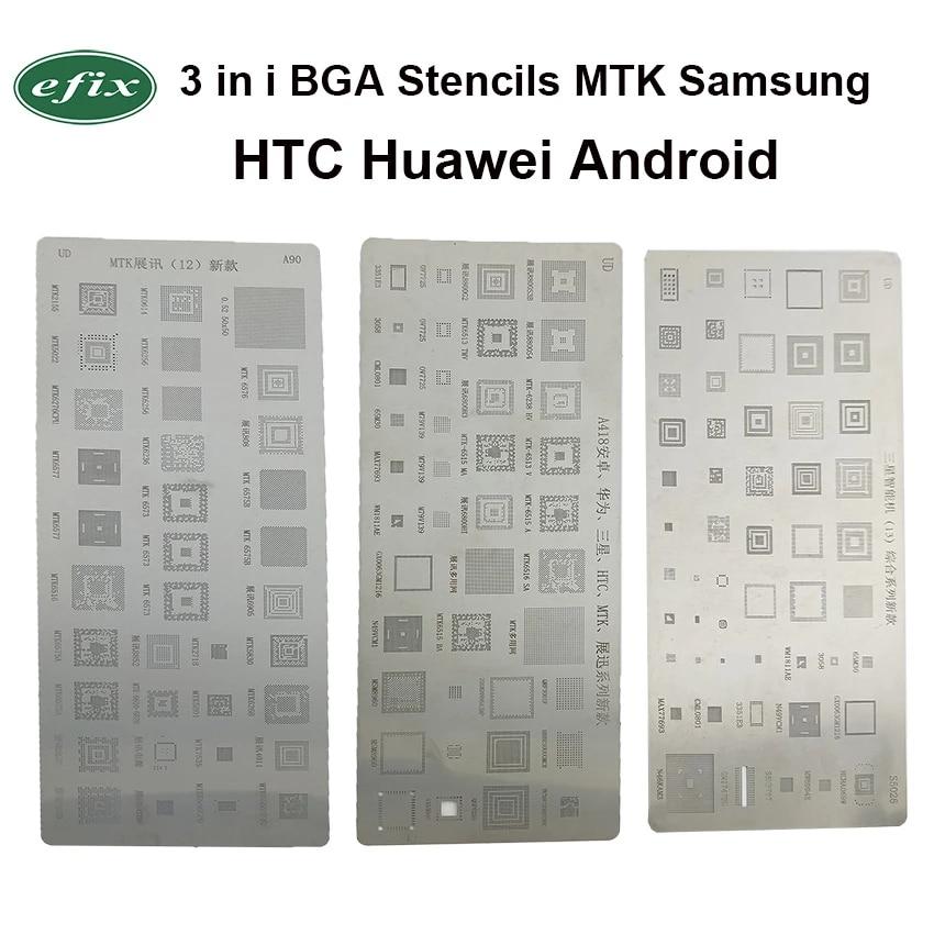 3pcs Universal BGA Reballing Stencils Kit For MTK Samsung HTC Huawei Android