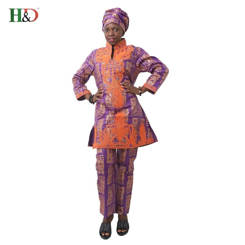 H & D Afrikansk bazin riche broderi design kjole lang topp med bukser - Nasjonale klær - Bilde 5