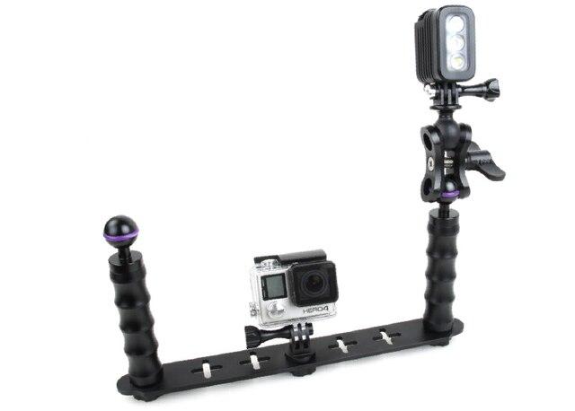 F18282 Dual Handheld Selfie Monopod Diving Underwater Light Arm Aluminum Mount for HERO3/3+/4/5 Xiaoyi Camera