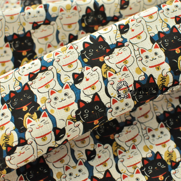 Japan Imported Cotton Lucky Cat DIY Clothing Fabric 110 * 50 Cm