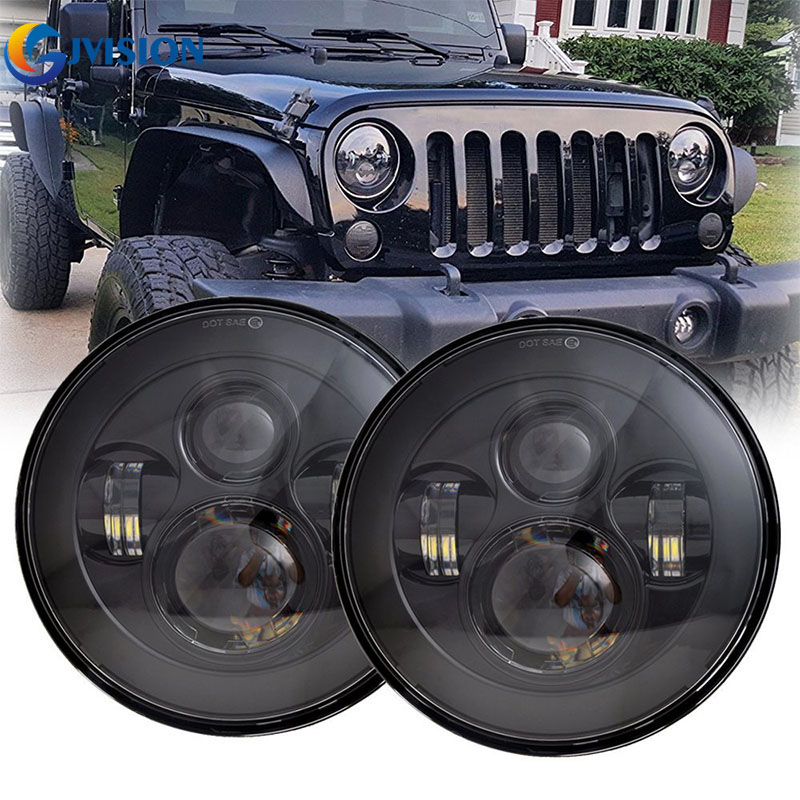 7 inch led Offroad headlight 4x4 led driving headlight for Jeep Wrangler JK CJ Land Rover Defender 7'' Daymaker projector lamps 60w 12v 4300k universal cree led headlight with hight power led driving lights for jeep wrangler cj 7 cj 8 replacement kit