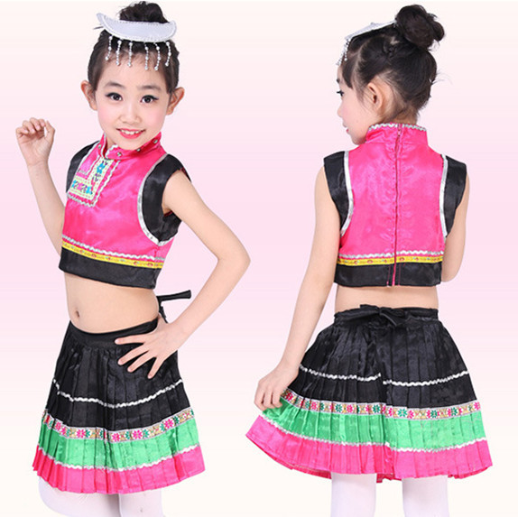 f369ef36b0c7a 10pcs/lot Free Shipping Children Girls Traditional Chinese Folk Dance  Costume Kids Stage Ballroom Belly Dancing Dress Clothes-in Ballroom from  Novelty ...