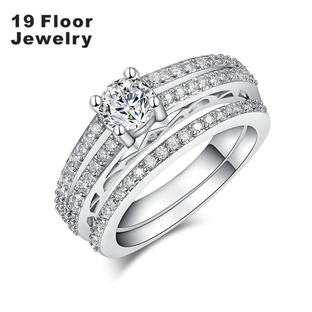White Gold plated Jewelry Women's Rings Inlay Zircon engagement fashion classic Rings party Wedding Ring for Women FMSR1657