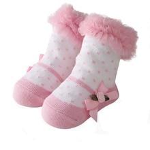 Детские носки хлопковые розовые носки принцессы с бантом на весну и осень для маленьких девочек, повседневные милые детские носки с кружевом зимние теплые носки для детей
