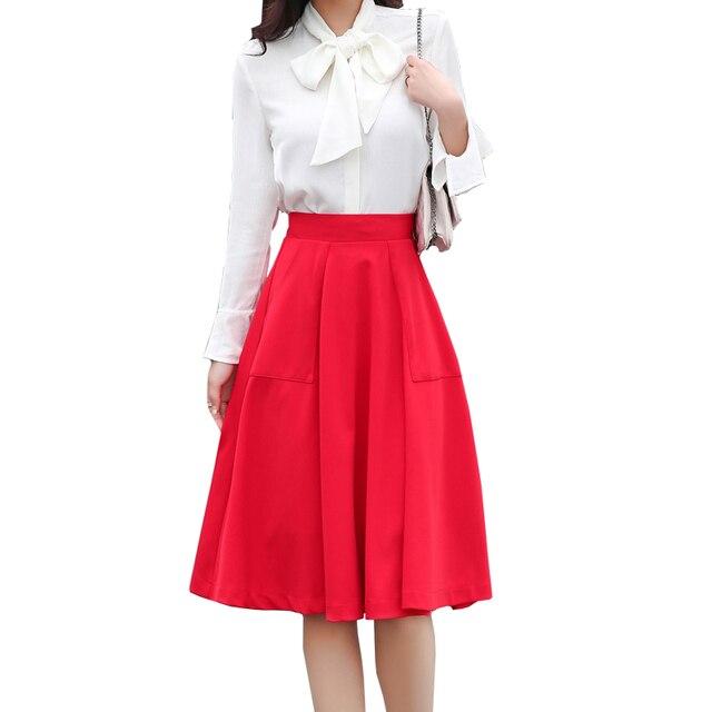 daa79eeb8c kashidi brand red skirts womens midi skirt pockets spring summer elegant  midi skirt high waist sexy