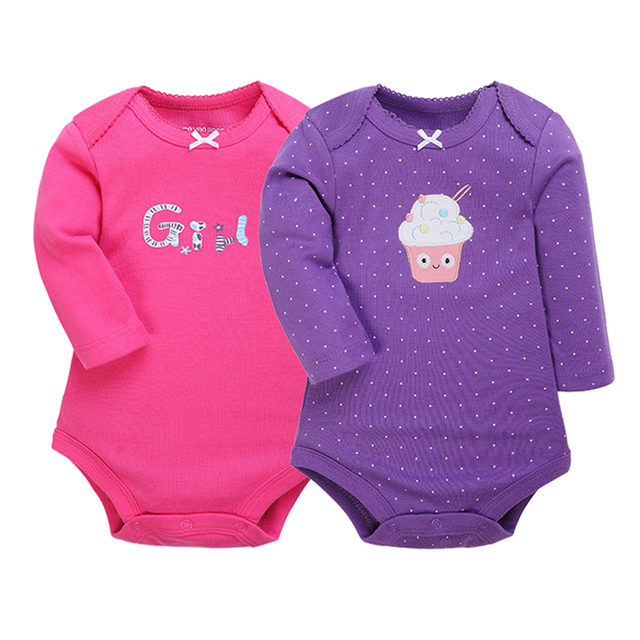 2-Pack Full Sleeved Cute N Adorable Bodysuit for Baby Girls | Spring 2017 Collection