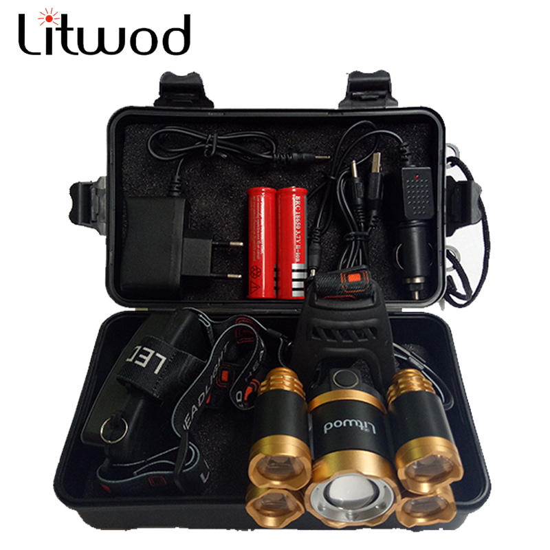 Litwod Z20 15000 Lumens Rechargeable 5 Led T6+Q5 Headlamp Headight Zoomable Head Flashlight Lamp Light Xml T6 Waterproof Lights