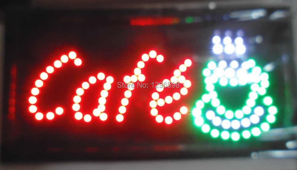 direct selling 10X19 inch led sign board semi-outdoor Ultra Bright flashing cafe store sign