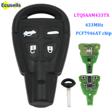 4 кнопки дистанционного ключа Fob 433 МГц PCF7946AT подходит для SAAB 9-3 9-5 2003-2010 FCC: LTQSAAM433TX Замена ремонт автомобиля дистанционного ключа