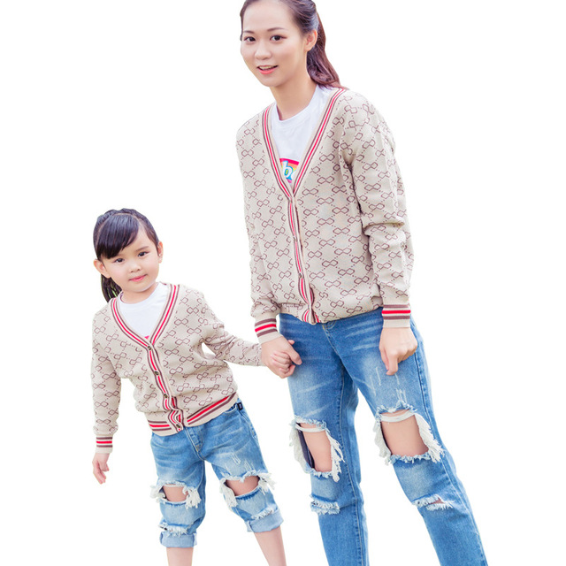 86ed5d669 2019 winter family look matching mother and daughter son clothes kids  sweaters knitted cardigan coats soft mommy and me clothes