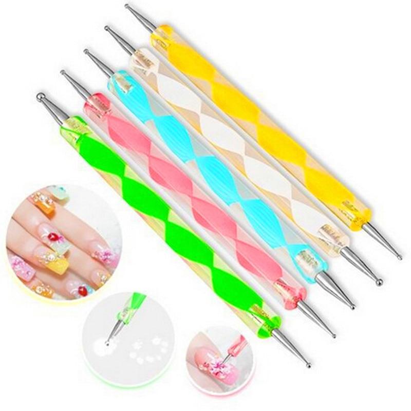 5 pcs /set Professional 2 way Nail Art Design Set Dotting Pen marbleizing Painting Tool For UV Gel