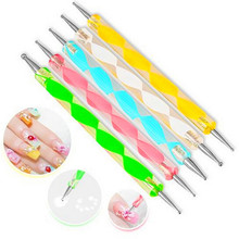 5 pcs /set Professional 2 way Nail Art Design Set Dotting Pen marbleizing Painting Tool For UV Gel