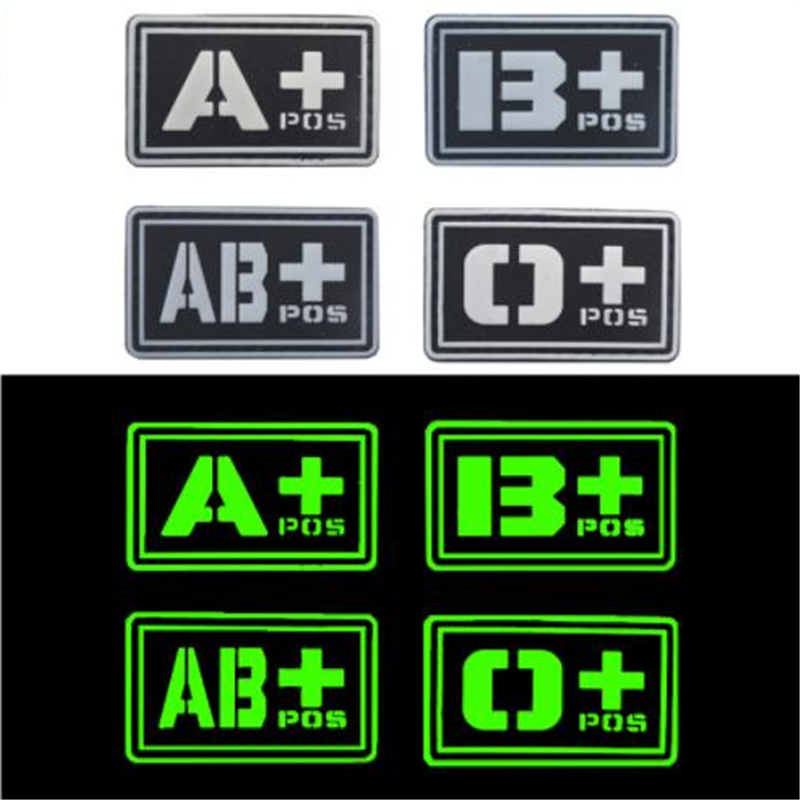 Green Souvenirs Badge 3D PVC A+ B+ AB+ O+ Positive A- B- AB- O- Negative Blood Type Group Patch Stickers Sewing Decals For Bags