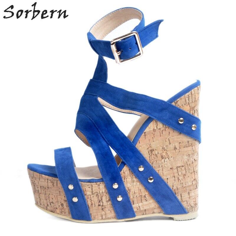 Bleu Disponible Bleu À custom Sorbern Sandales Pour Coins Service Personnalisé forme Ouvert Femmes 34 Taille Plate Haut 47 Talon Bout 2017 D'été Chaussures qf4wqpHR6