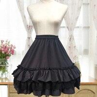 Nhật bản Lolita Voan Xếp Li Váy của Phụ Nữ Trắng Đen A Line Petticoat Ren Layered Thêu Ruffles Mori Cô Gái Váy U317
