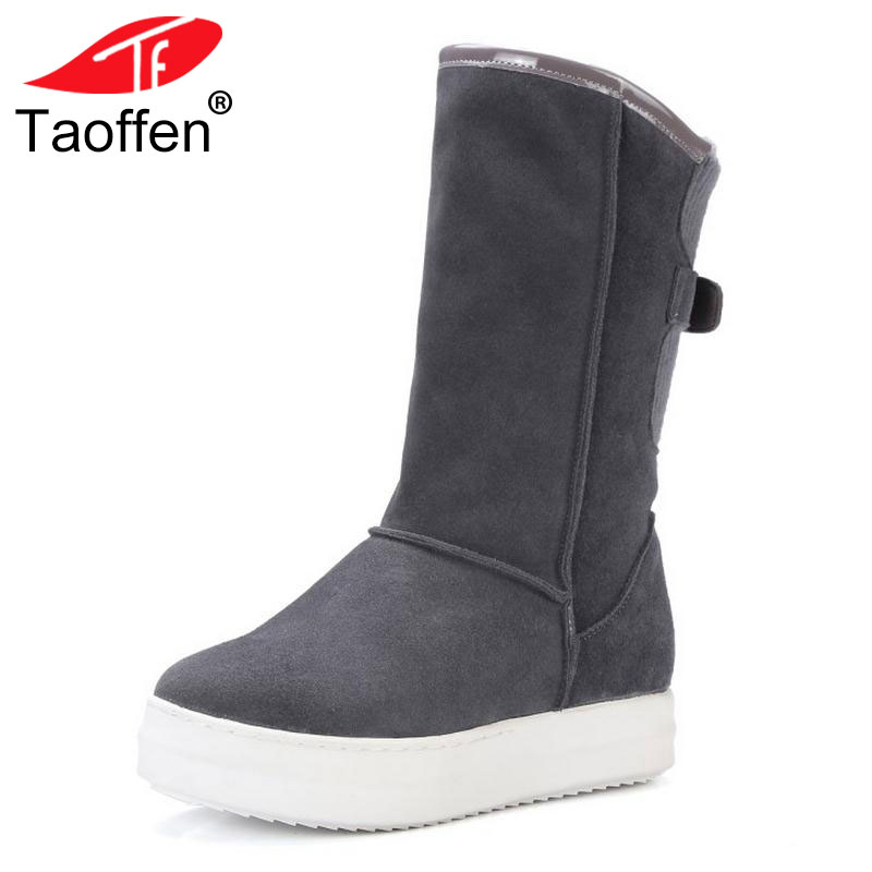 TAOFFEN Winter Real Leather Boots Thickened Fur Women Boots Short Ankle Snow Boots Lady Buckle Footwear Women Shoes Size 33-42 taoffen winter real leather boots thickened fur women boots short ankle snow boots lady buckle footwear women shoes size 33 42