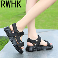 RWHK 2019 summer new magic stickers sequins muffin thick bottom breathable womens sandals non-slip shoes B304