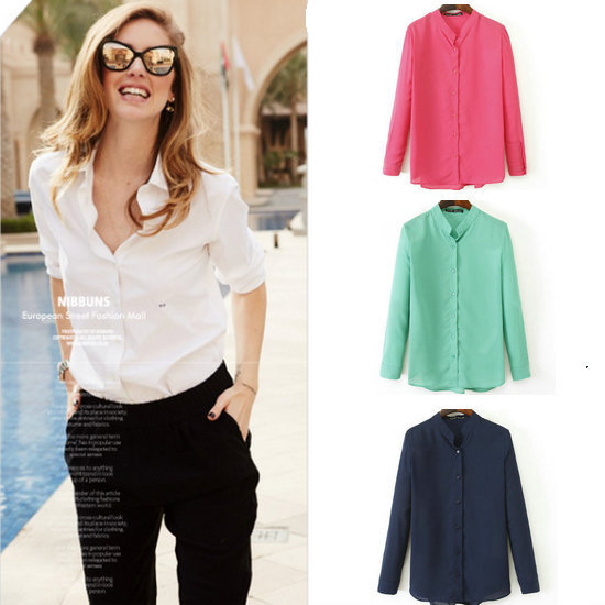 New Spring Autumn Women Fashion Chiffon Blouse Lady formal Stand Colar Shirt Pink White Green Dark Blue Hot Sale