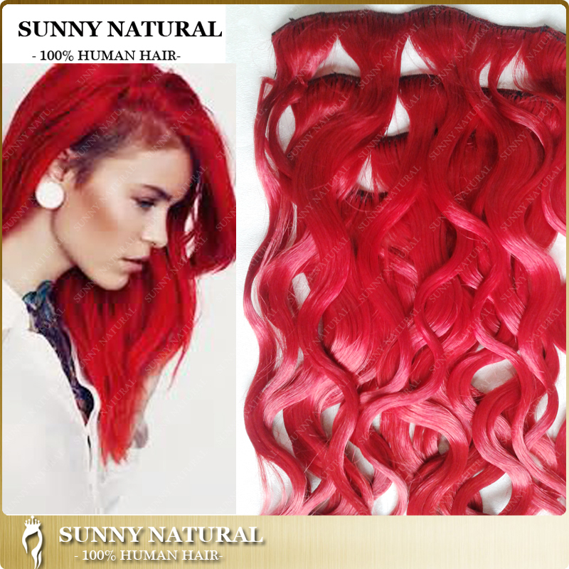 Red Brazilian Human Hair Clip In Hair Extensions 1 Pcs Cut Into 7