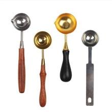 1 шт. популярная модная ложка из нержавеющей стали, деревянная ручка длиной 12 см, высокое качество, для восковой печати, древние уплотнительные восковые бусины для таблеток