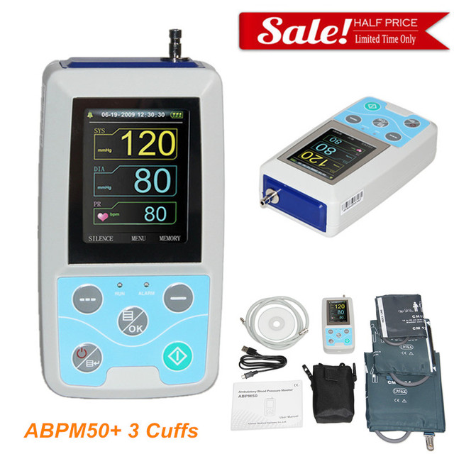 24 hours Ambulatory Blood Pressure Monitor Holter BP Monitor with software with Adult,Child,Large Adult Cuff 1