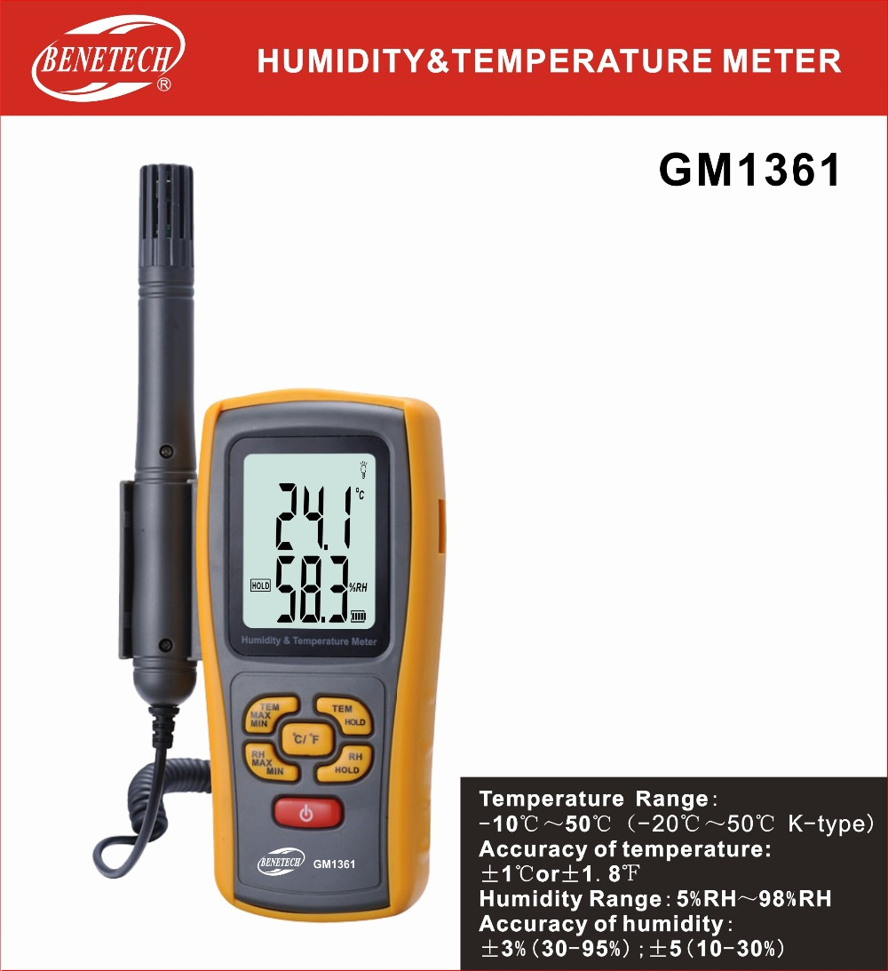 GM1361 Digital LCD display thermo-hygrometer 2.5 Inch Separate temperature and humidity meter outest gm1361 digital lcd thermo hygrometer detachable temperature humidity meter bluetooth 50 1200c thermometer
