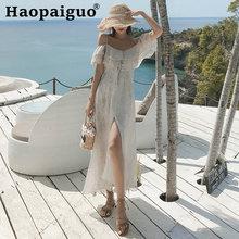 Размера плюс летнее пляжное платье для женщин с открытыми плечами