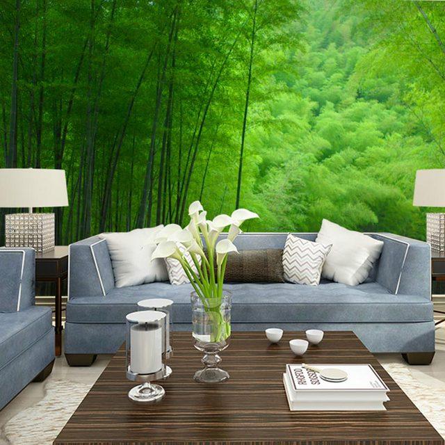 Alam Hutan Bambu Foto Mural Wallpaper Ruang Tamu Kamar Tidur Dinding