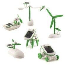6 в 1 робот, работающий от солнечной энергии комплект DIY собрать гаджет самолет лодка автомобиль Поезд Модель научный подарок игрушки для мальчика Дети