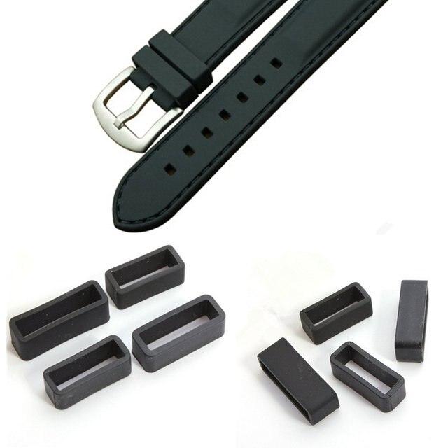 Оптовая продажа черный ремешок для часов удерживающее кольцо Петля резиновая Пряжка фиксатора держатель 20 мм