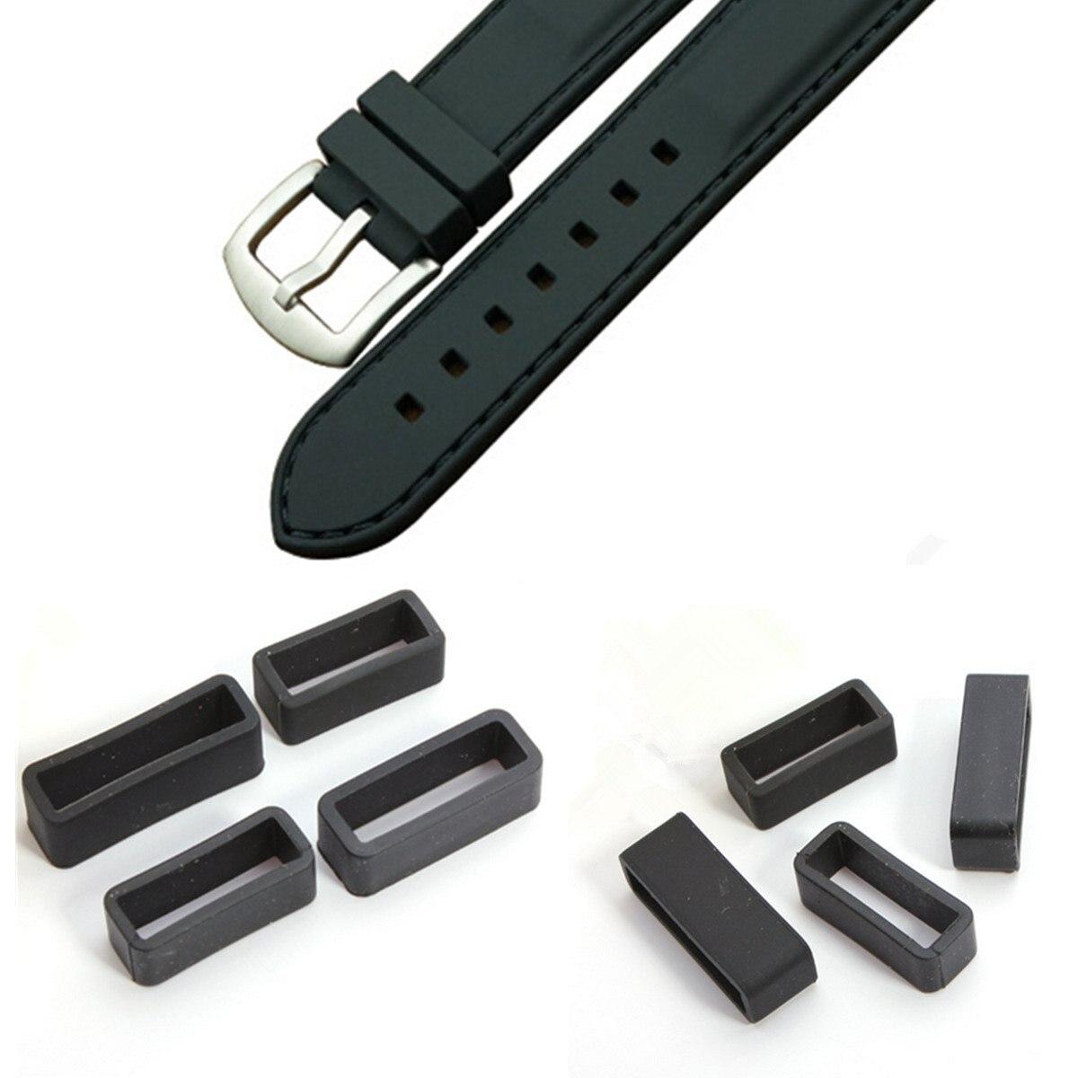 Wholesale Black Watch Strap Retaining Hoop Loop Rubber Retainer Buckle Holder 20mm