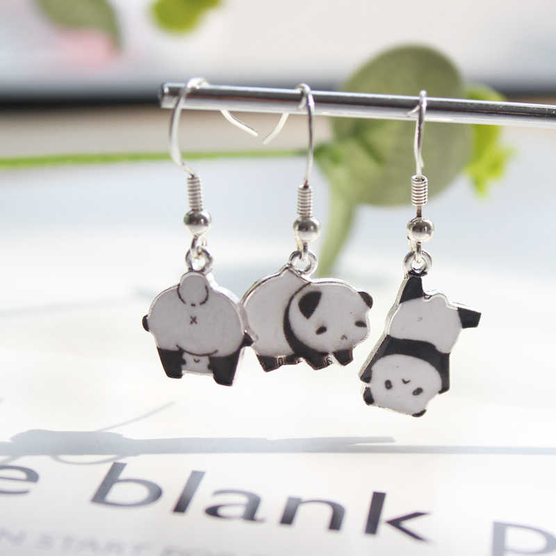 New Fashion Cartoon Cute Sticker Panda Metal Earrings For Women