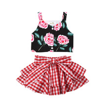 2Pcs Toddler Kid Baby Girl Clothes Strap Sleeveless Floral Tops Shirt Plaid Tutu Skirt Summer Outfits Clothes Set 2pcs girl floral bowknot tops ruffle culottes set outfits clothes 1 3 year kid s04