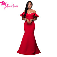 Dear Lover Mermaid Dress 2016 Vestidos Sexy Gorgeous Ruffle Accent Off Shoulder Hot Red Party Gown