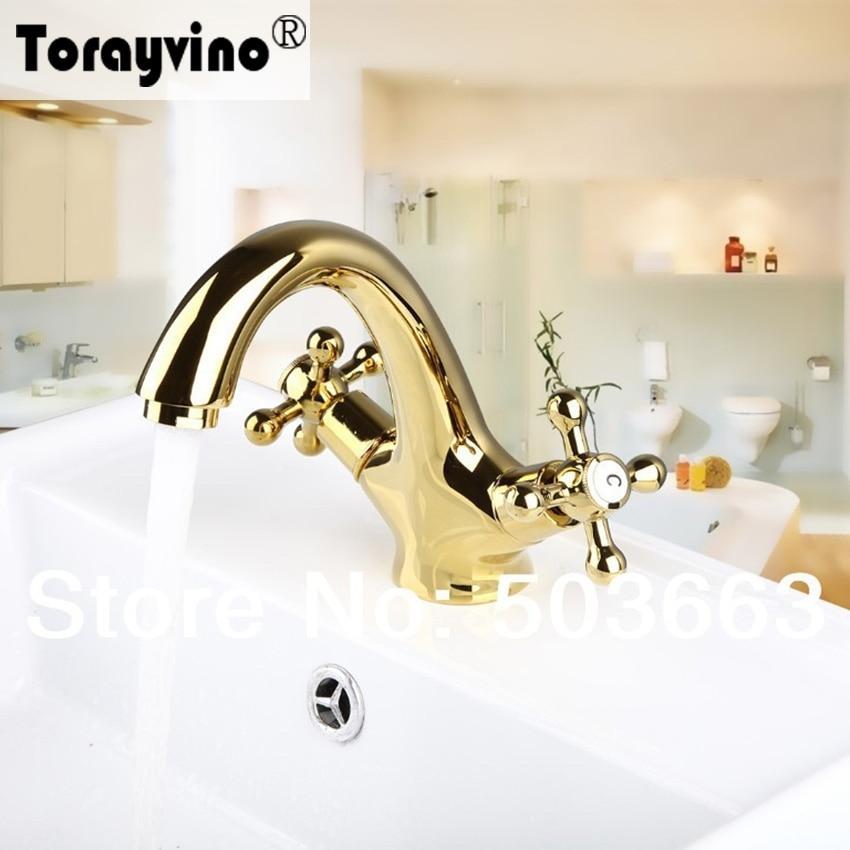 Torayvino Double Handles Golden Basin Sink Bathroom Deck Mounted ...