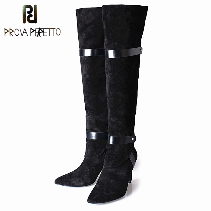 Prova Perfetto Spell Color Belt Buckle Women Knee High Boots Fashion Suede Thin High Heel Pointed Toe Zipper Plush In Women Boot