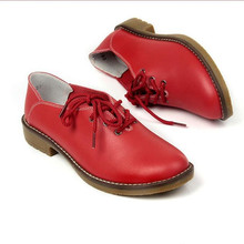 2017 New Women's shoes Casual Genuine Leather Oxford Shoes For Flat Shoes Ladies Shoes Loafers Zapatos size 35-42