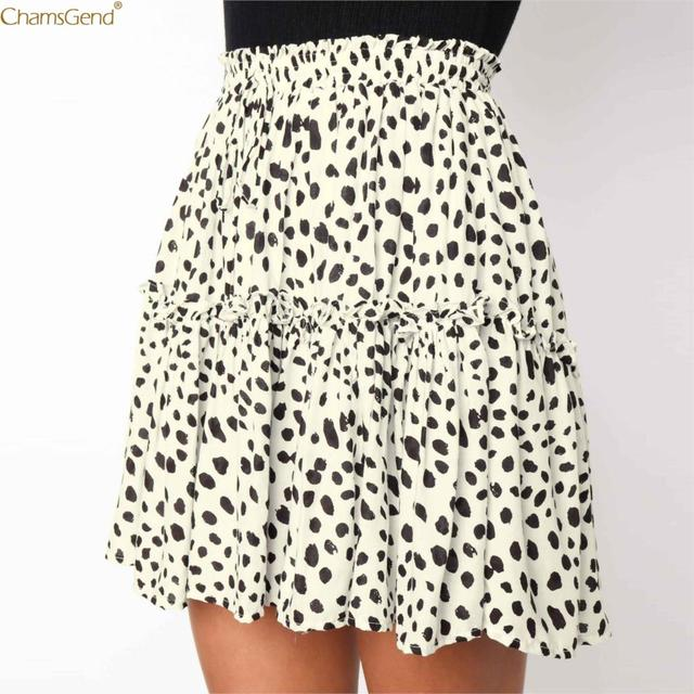 Chamsgend Summer White skirts womens Casual Retro High Waist Print printed korean style skirts Design Party Short Skirt Dec28
