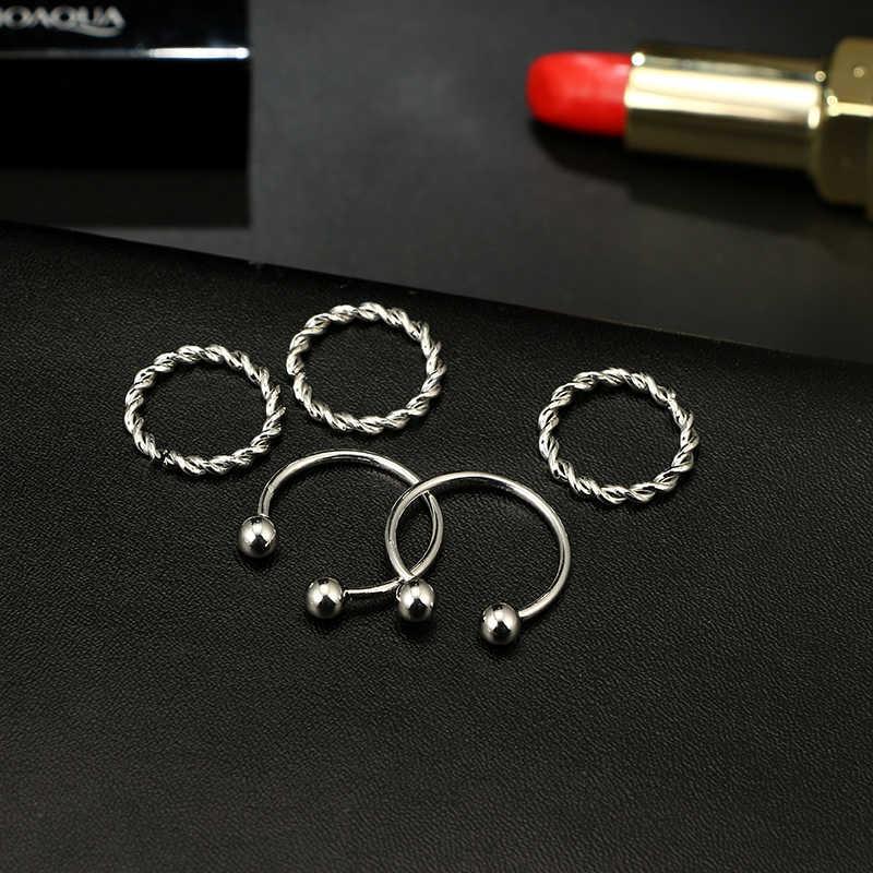 Docona Punk Silver สี Ball เปิดกำไลข้อมือกำไลข้อมือแหวนชุดสำหรับหญิงสาว Knuckle Midi แหวนเครื่องประดับชุด 3859